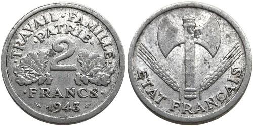2 франка 1943 Франция — Без отметки монетного двора