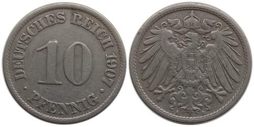 10 пфеннигов 1907 «A» — Германская империя