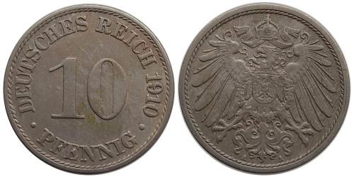 10 пфеннигов 1910 «A» — Германская империя