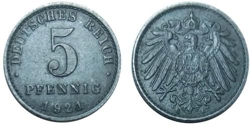5 пфеннигов 1921 «А» Германская империя