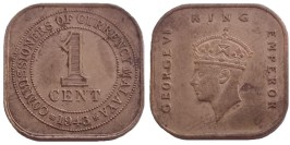 1 цент 1943 — Малайя