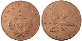 5 франков 1987 Руанда UNC