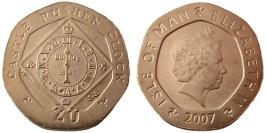 20 пенсов 2007 остров Мэн UNC — Отметка AA на реверсе