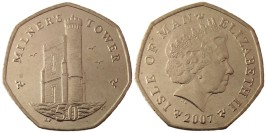 50 пенсов 2007 остров Мэн UNC — Отметка AВ на реверсе