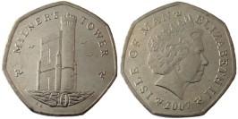 50 пенсов 2007 остров Мэн UNC — Отметка AА на реверсе