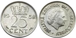 25 центов 1958 Нидерланды