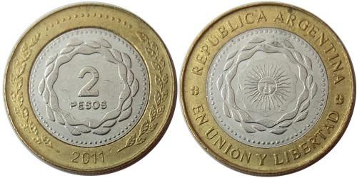 2 песо 2011 Аргентина UNC