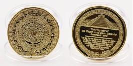 Сувенирная монета — календарь Майя в капсуле — латунного цвета
