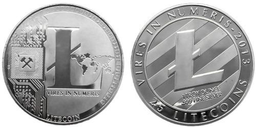 Сувенирная монета 25 Лайткоинов — 25 Litecoins 2013 в капсуле — стального цвета