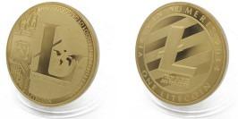 Сувенирная монета 25 Лайткоинов — 25 Litecoins 2013 в капсуле — латунного цвета