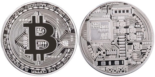 Сувенирная монета Биткоин — Bitcoin 2013 в капсуле — стального цвета
