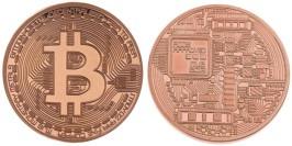 Сувенирная монета Биткоин — Bitcoin 2013 в капсуле — медного цвета