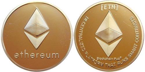 Сувенирная монета Ethereum в капсуле — латунного цвета