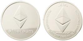 Сувенирная монета Ethereum в капсуле — стального цвета
