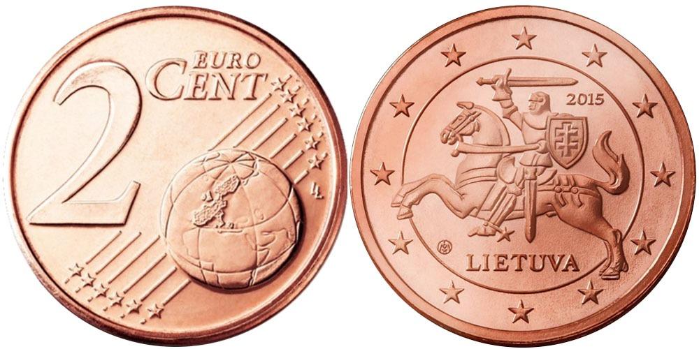 2 евроцента 2015 Литва UNC