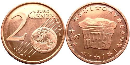 2 евроцента 2007 Словения UNC