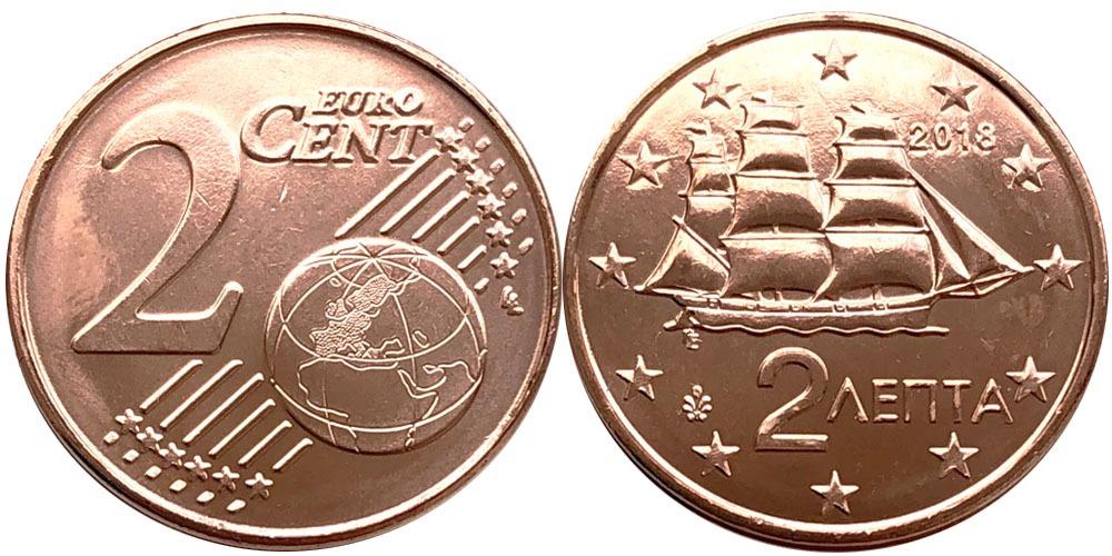 2 евроцента 2018 Греция UNC