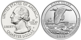 25 центов 2018 D США — Национальное убежище дикой природы острова Блок UNC