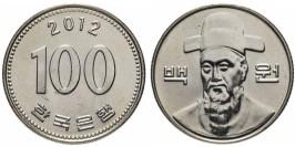 100 вон 2012 Южная Корея UNC