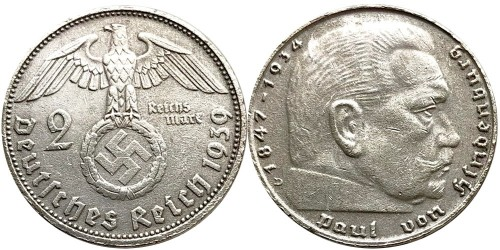 2 рейхсмарки 1939 «D» Германия — серебро