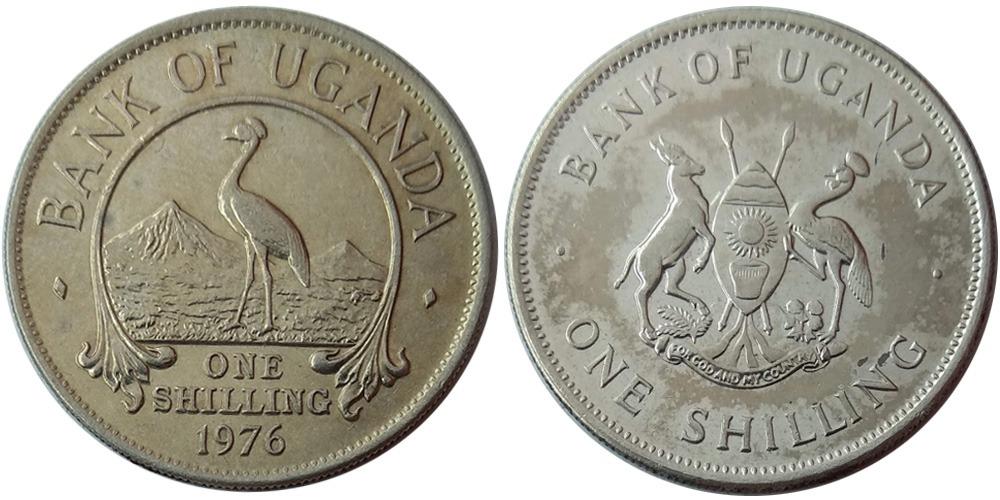 1 шиллинг 1976 Уганда — Восточный венценосный журавль
