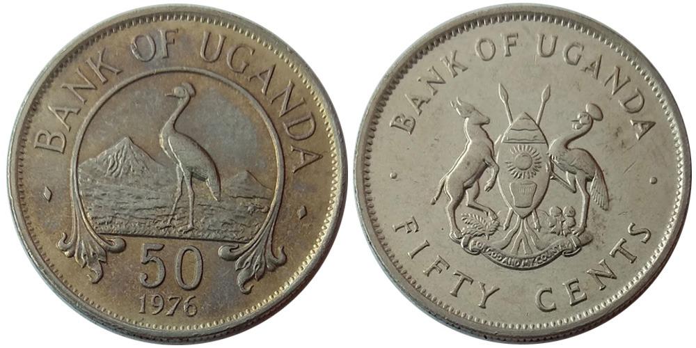 50 центов 1976 Уганда — Восточный венценосный журавль уценка