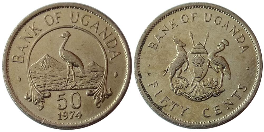 50 центов 1974 Уганда — Восточный венценосный журавль
