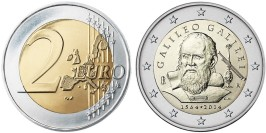 2 евро 2014 Италия — 450 лет со дня рождения Галилео Галилея UNC