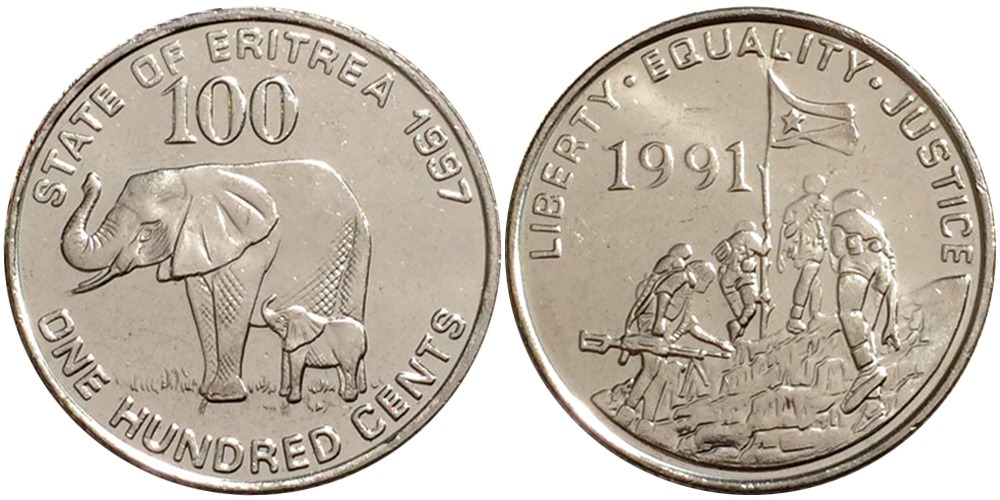 100 центов 1997 Эритрея UNC