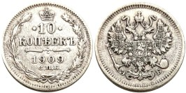 10 копеек 1909 Царская Россия — СПБ ЭБ — серебро № 6