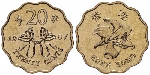 20 центов 1997 Гонконг — Возврат Гонконга под юрисдикцию Китая UNC