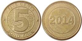 5 центов 2014 Зимбабве UNC