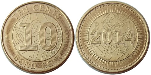 10 центов 2014 Зимбабве UNC