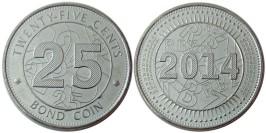 25 центов 2014 Зимбабве UNC