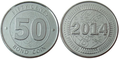 50 центов 2014 Зимбабве UNC