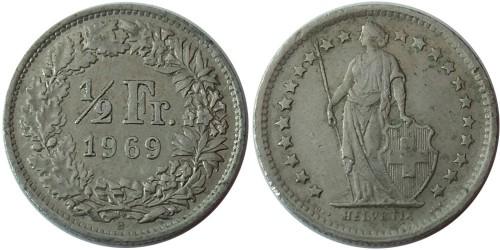 1/2 франка 1969 Швейцария — Отметка монетного двора B — Берн