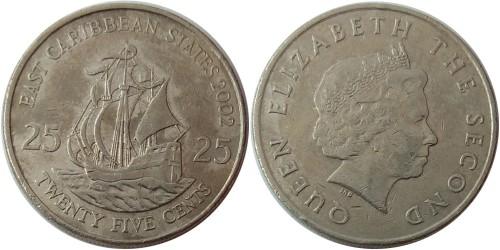 25 центов 2002 Восточные Карибы