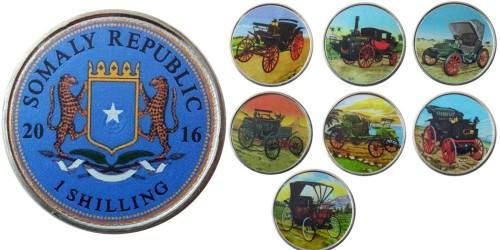 1 шиллинг 2016 Сомали — набор из 7-ми монет Ретро автомобили