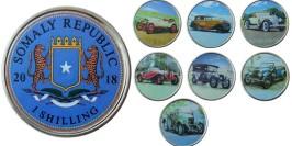 1 шиллинг 2018 Сомали — набор из 7-ми монет Ретро автомобили
