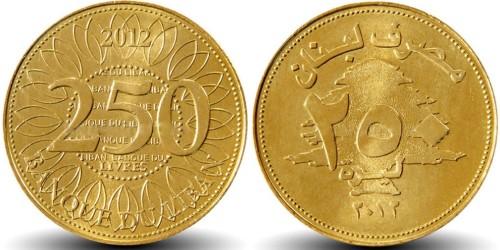 250 ливров 2012 Ливан