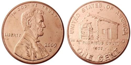 1 цент 2009 D США — 200 лет со дня рождения Авраама Линкольна — Детство в Кентукки