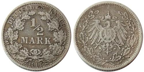 1/2 марки 1905 «А» Германия — серебро №2