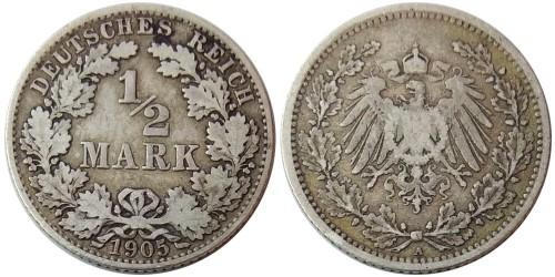 1/2 марки 1905 «А» Германия — серебро №3