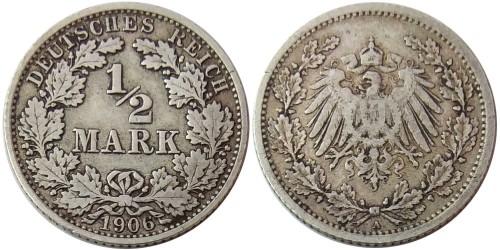1/2 марки 1906 «A» Германия — серебро