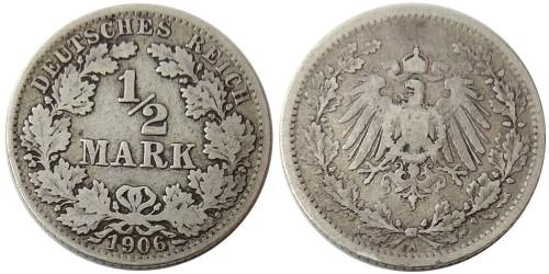 1/2 марки 1906 «A» Германия — серебро №1