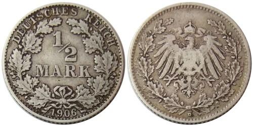 1/2 марки 1906 «D» Германия — серебро