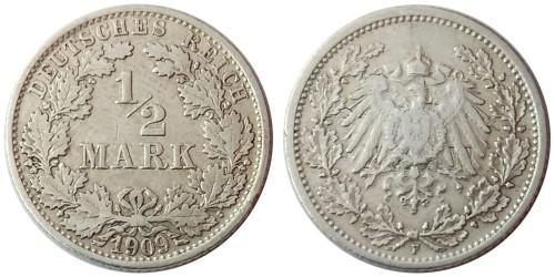 1/2 марки 1909 «F» Германия — серебро