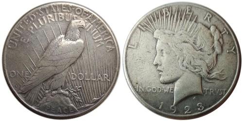 1 доллар 1923 S США — Peace Dollar — серебро