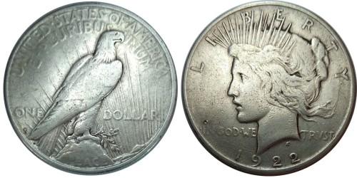1 доллар 1922 D США — Peace Dollar — серебро