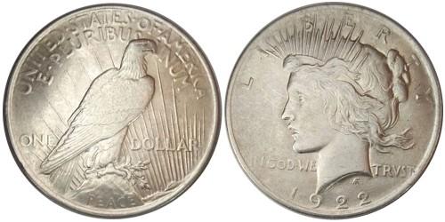 1 доллар 1922 США — Peace Dollar — серебро